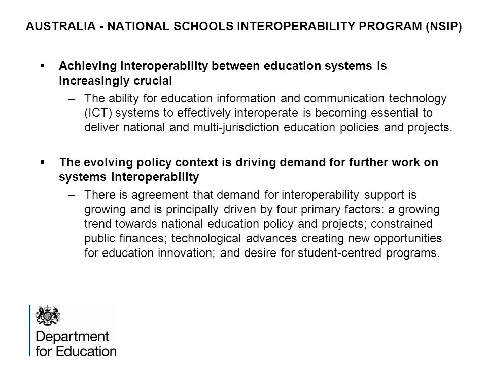 AUSTRALIA - NATIONAL SCHOOLS INTEROPERABILITY PROGRAM (NSIP)