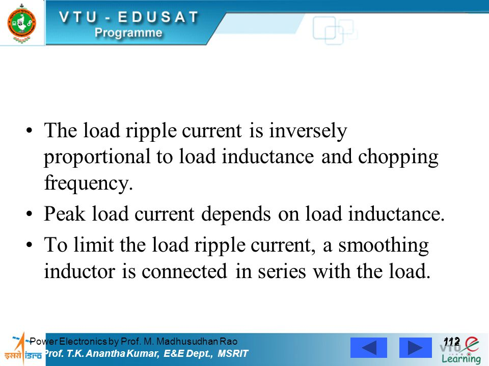 Peak load current depends on load inductance.
