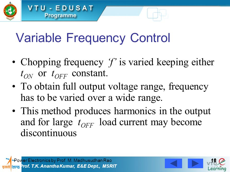 Variable Frequency Control