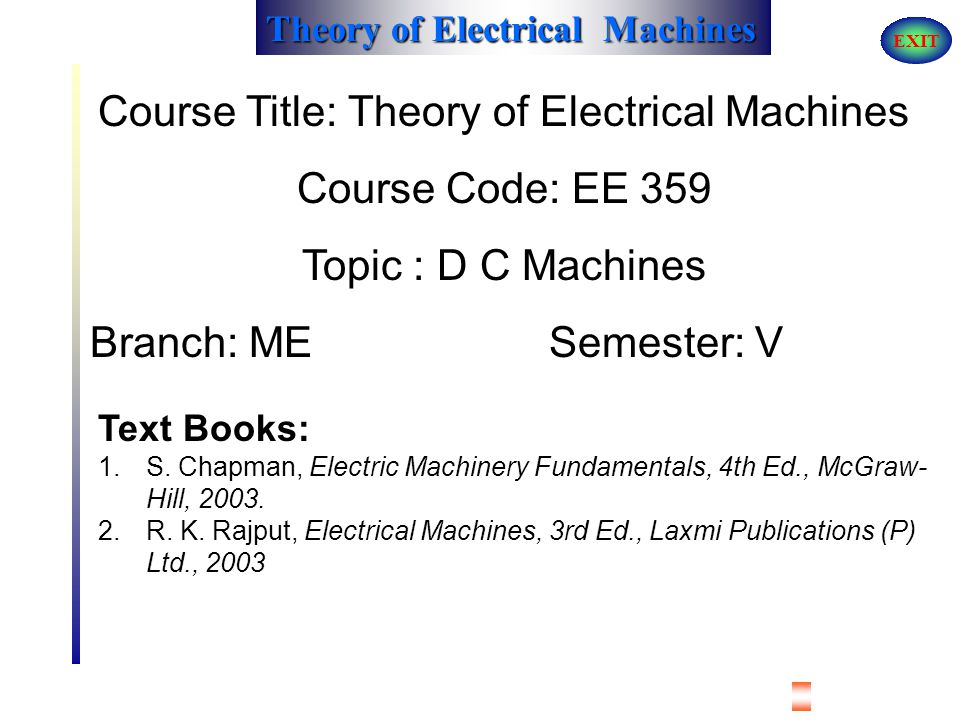 Course Title: Theory of Electrical Machines