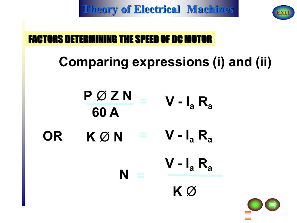 FACTORS DETERMINING THE SPEED OF DC MOTOR