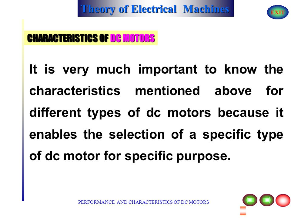 CHARACTERISTICS OF DC MOTORS