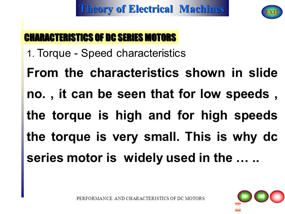 CHARACTERISTICS OF DC SERIES MOTORS