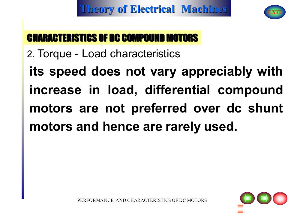 CHARACTERISTICS OF DC COMPOUND MOTORS