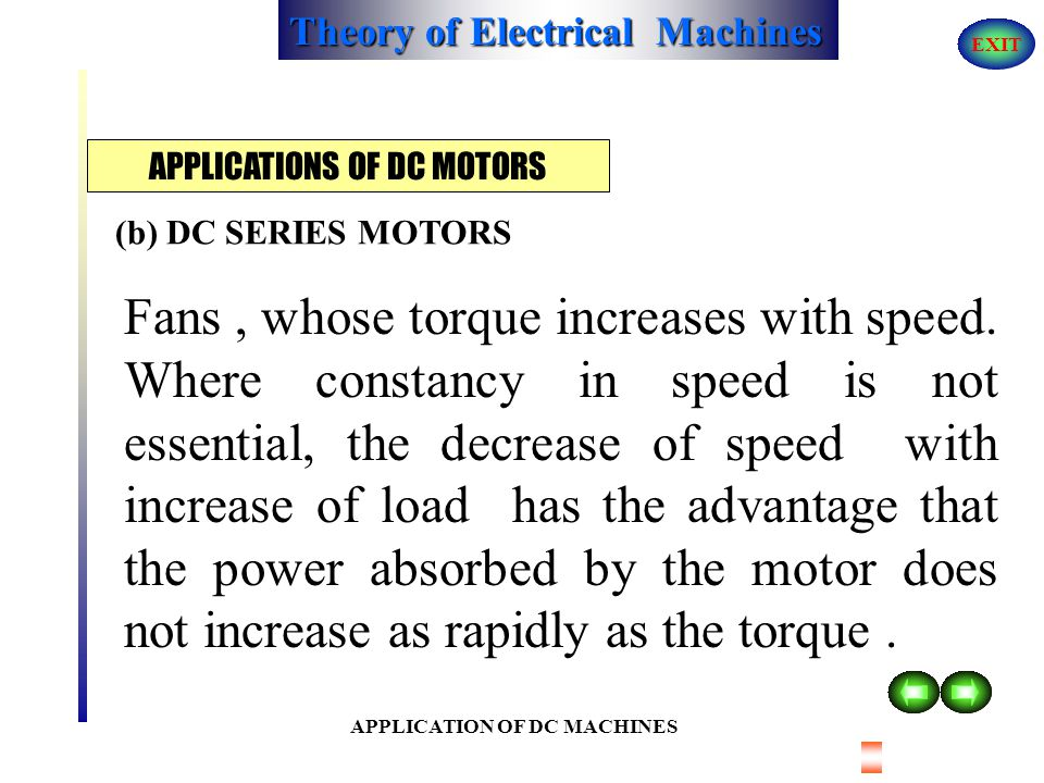 APPLICATIONS OF DC MOTORS