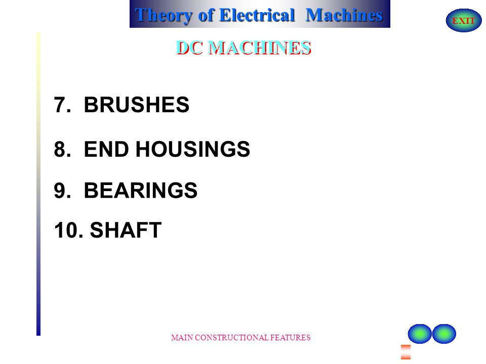 7. BRUSHES 8. END HOUSINGS 9. BEARINGS 10. SHAFT DC MACHINES