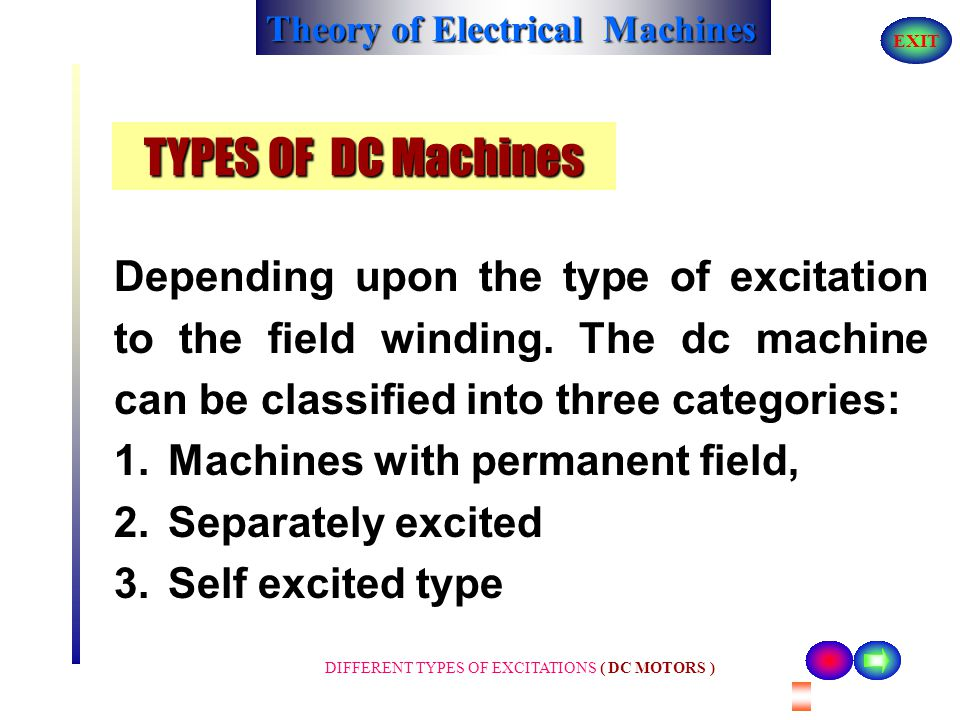 TYPES OF DC Machines Depending upon the type of excitation to the field winding. The dc machine can be classified into three categories: