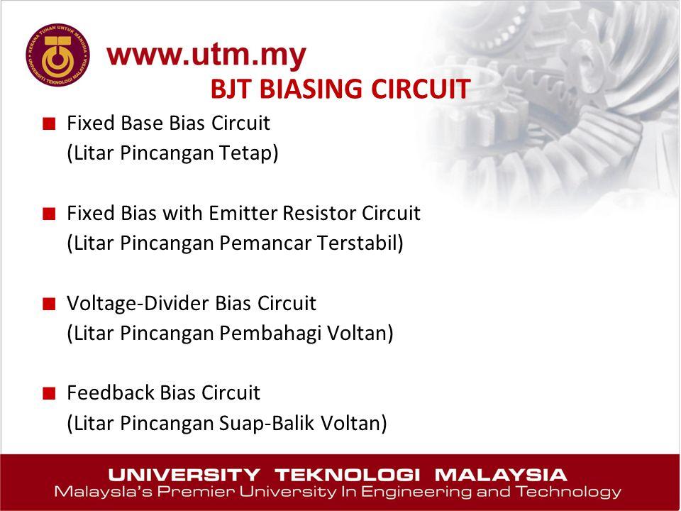 BJT BIASING CIRCUIT Fixed Base Bias Circuit (Litar Pincangan Tetap)