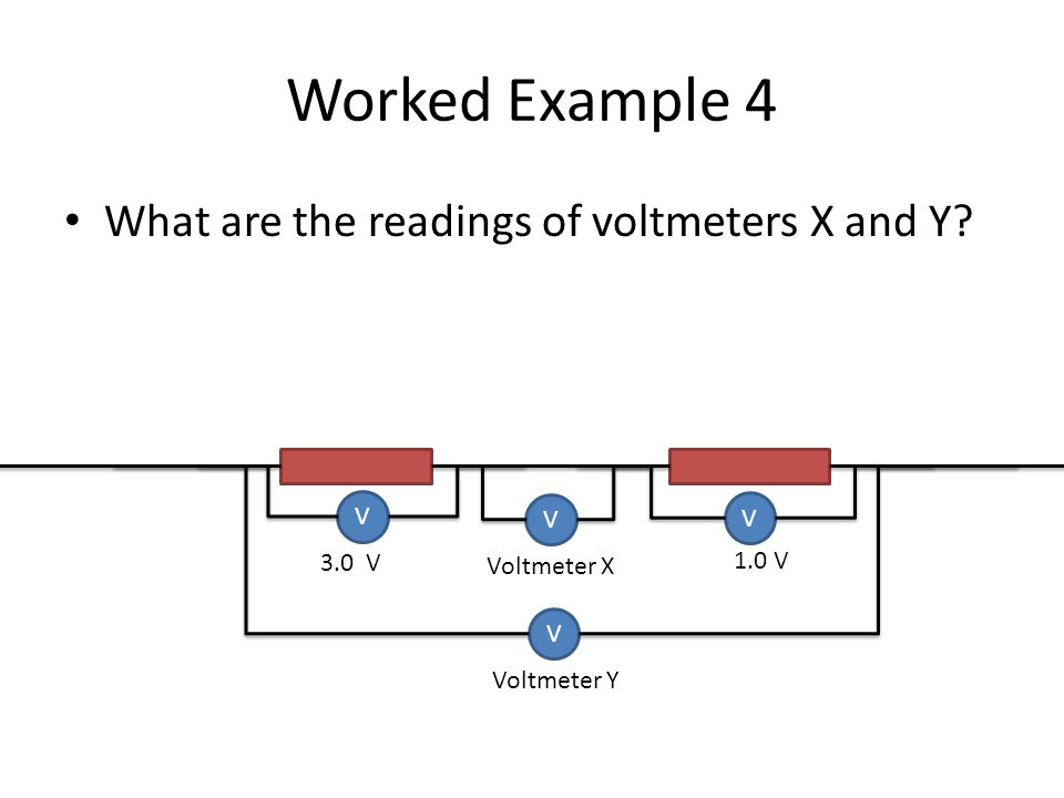 Worked Example 4 What are the readings of voltmeters X and Y V V V