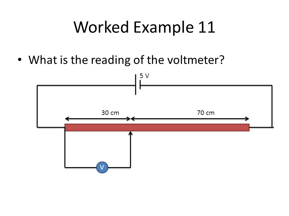 Worked Example 11 What is the reading of the voltmeter 5 V 30 cm