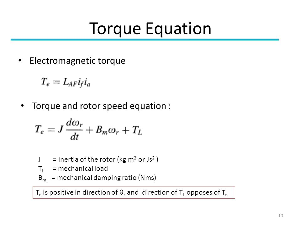 Torque Equation Electromagnetic torque