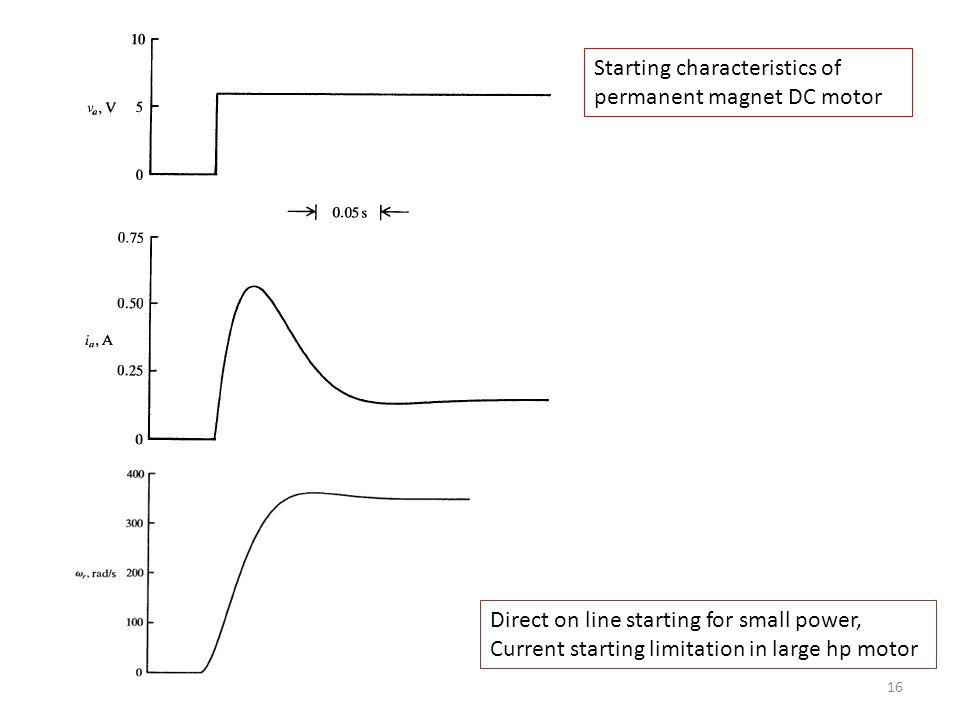 Starting characteristics of permanent magnet DC motor