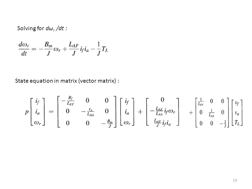 Solving for dωr /dt : State equation in matrix (vector matrix) :