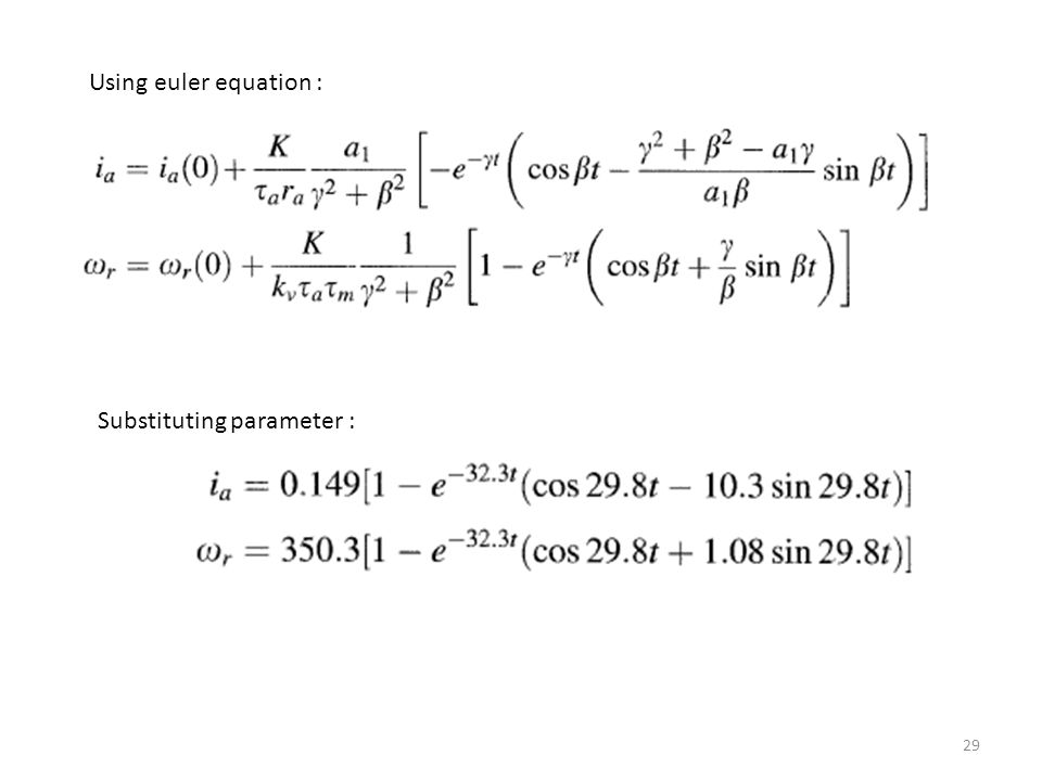 Using euler equation : Substituting parameter :