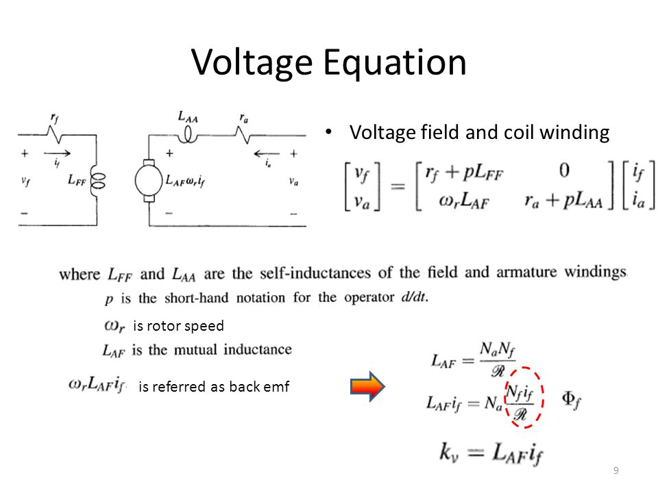 Voltage Equation Voltage field and coil winding is rotor speed