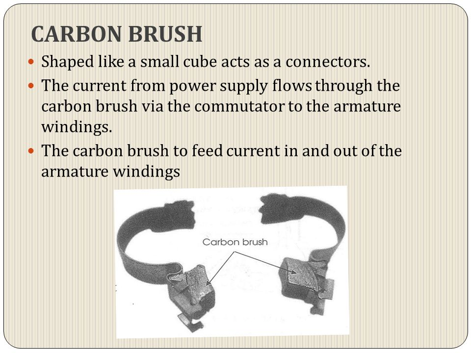 CARBON BRUSH Shaped like a small cube acts as a connectors.