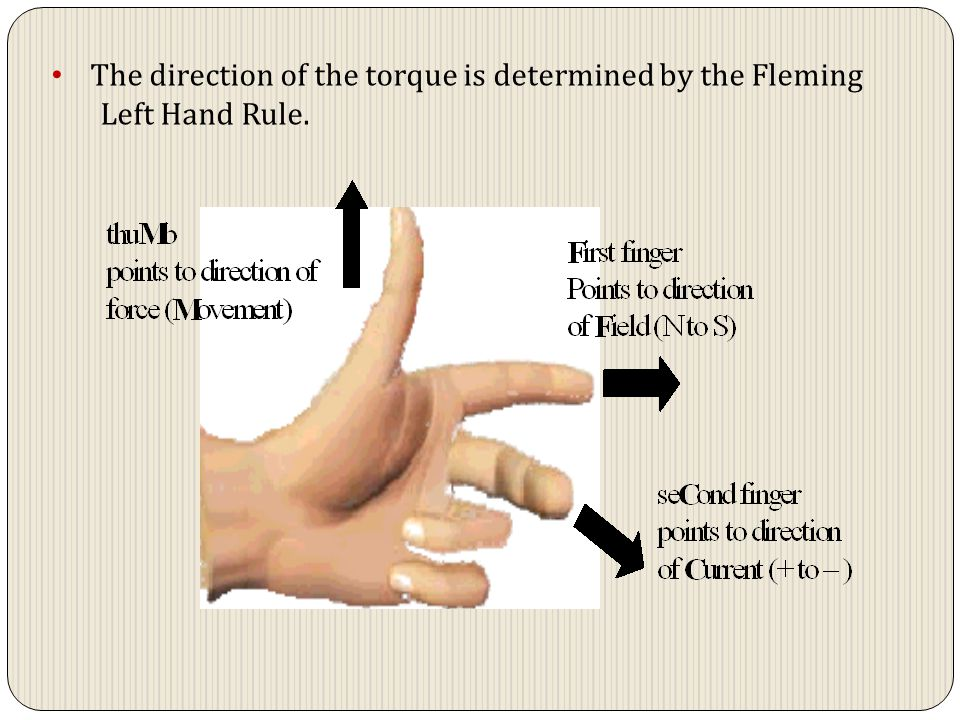 The direction of the torque is determined by the Fleming Left Hand Rule.