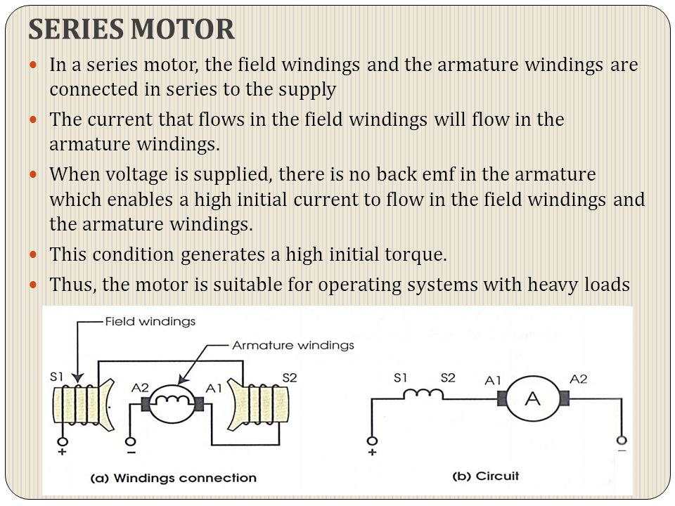 SERIES MOTOR In a series motor, the field windings and the armature windings are connected in series to the supply.