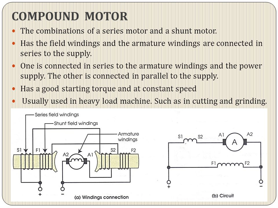 COMPOUND MOTOR The combinations of a series motor and a shunt motor.