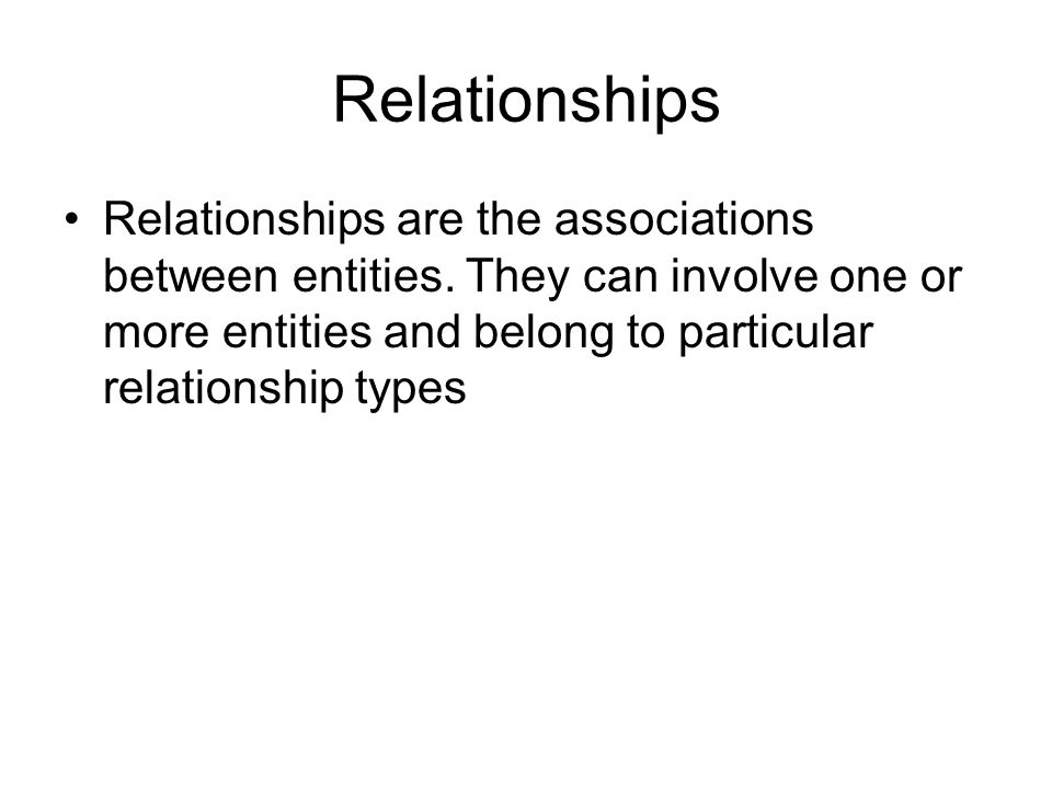 Relationships Relationships are the associations between entities.