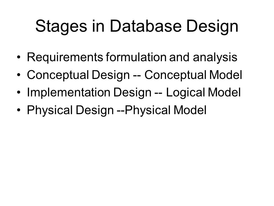 Stages in Database Design