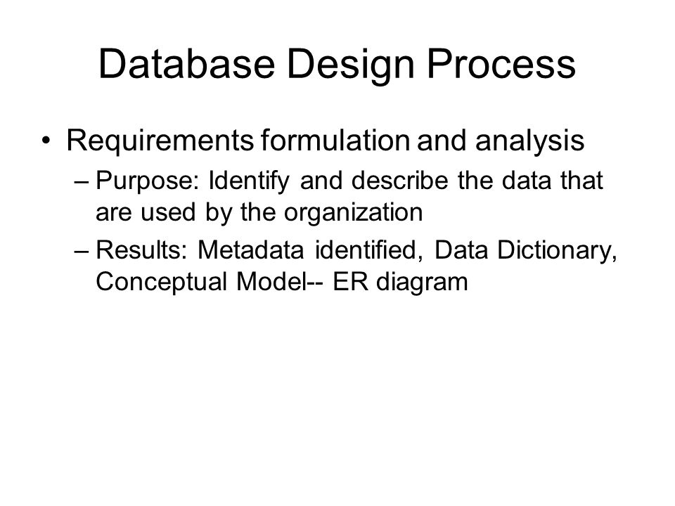 Database Design Process
