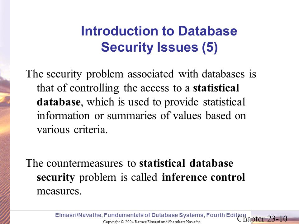 Introduction to Database Security Issues (5)