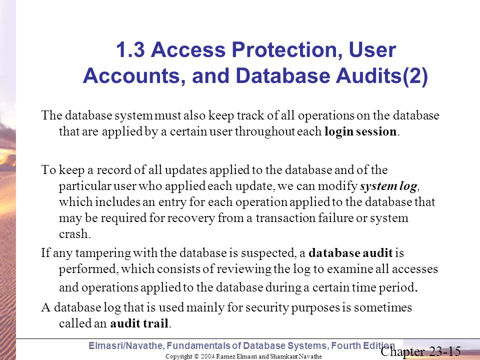 1.3 Access Protection, User Accounts, and Database Audits(2)
