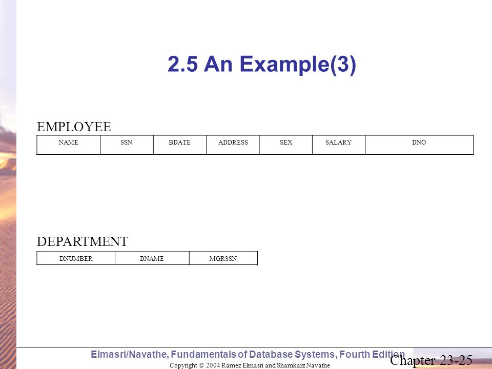 2.5 An Example(3) EMPLOYEE DEPARTMENT NAME SSN BDATE ADDRESS SEX