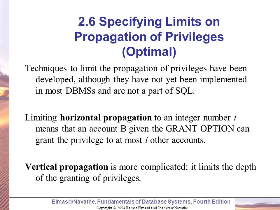 2.6 Specifying Limits on Propagation of Privileges (Optimal)