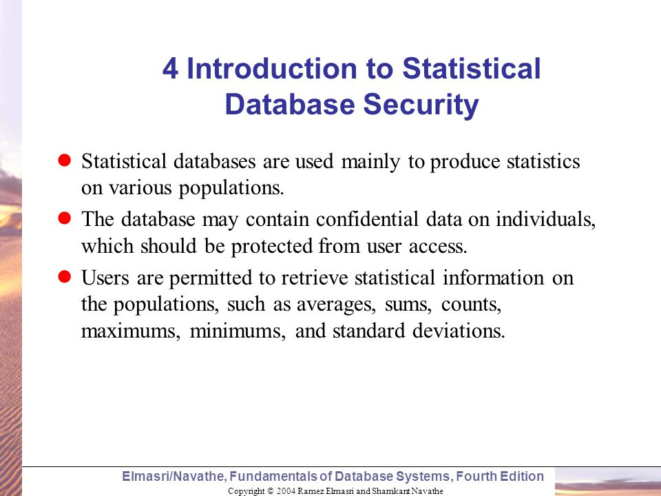 4 Introduction to Statistical Database Security