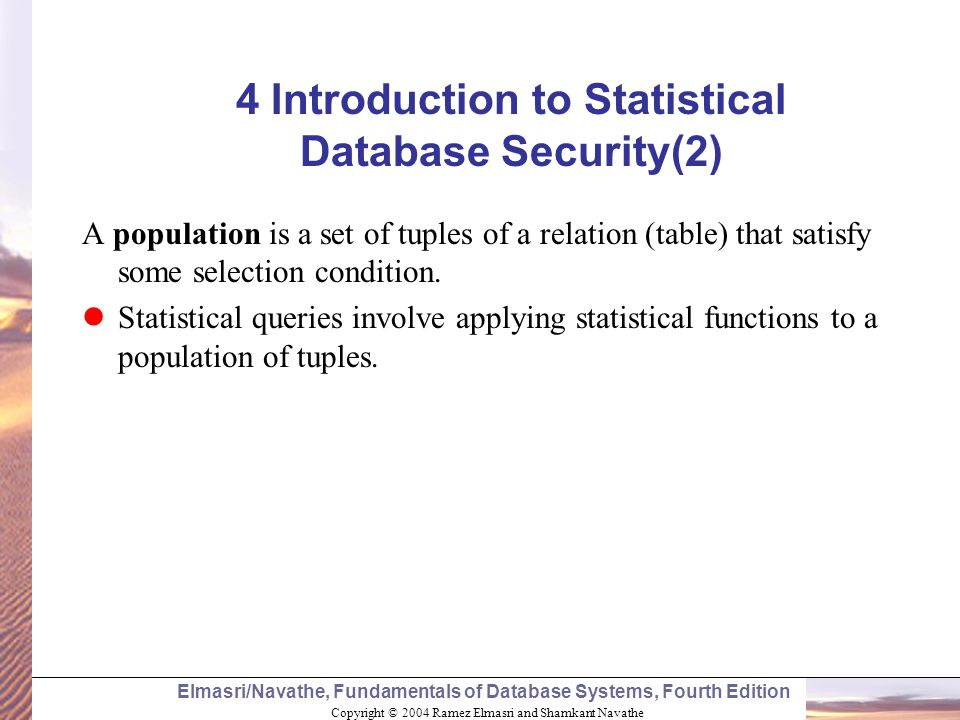 4 Introduction to Statistical Database Security(2)
