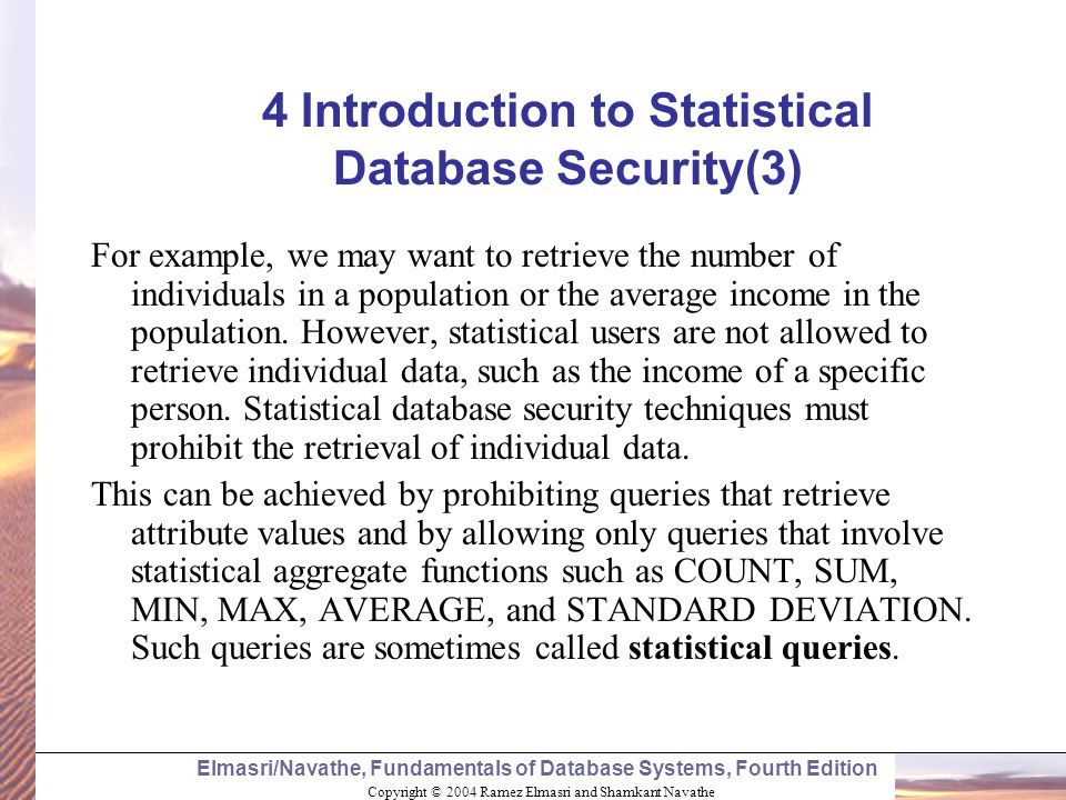 4 Introduction to Statistical Database Security(3)