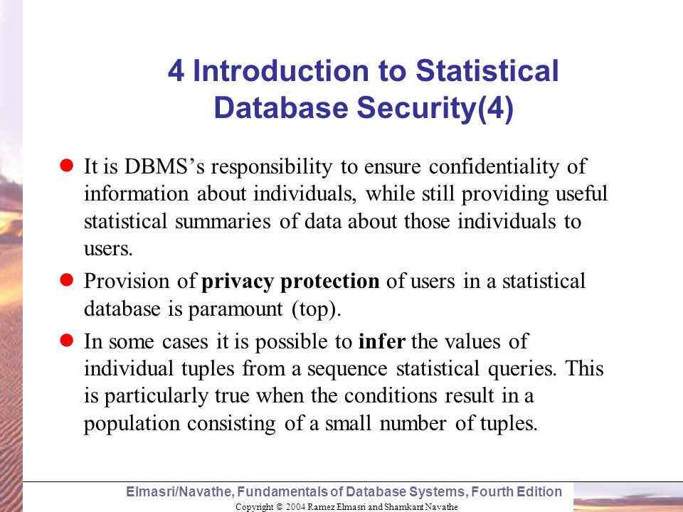 4 Introduction to Statistical Database Security(4)