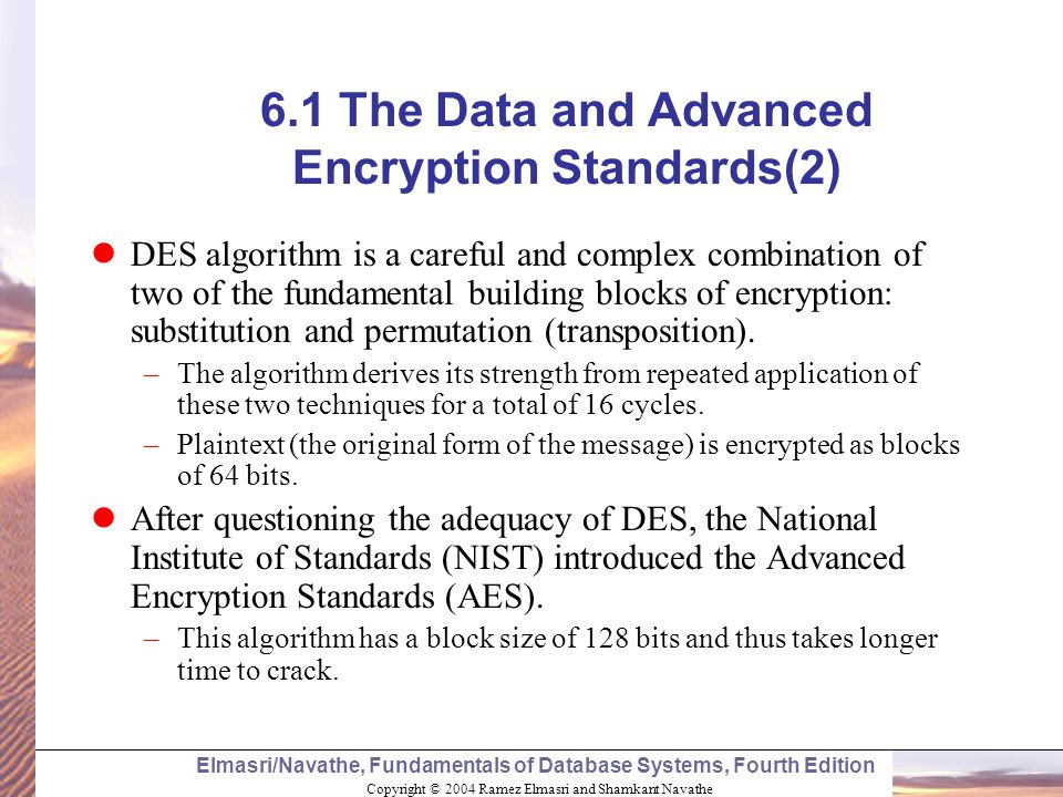 6.1 The Data and Advanced Encryption Standards(2)