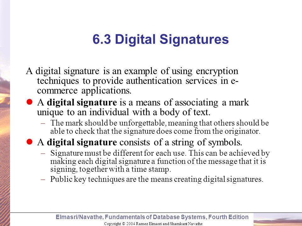 6.3 Digital Signatures