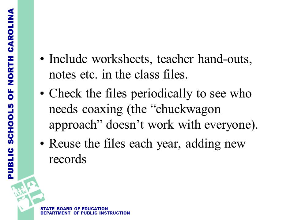 Include worksheets, teacher hand-outs, notes etc. in the class files.