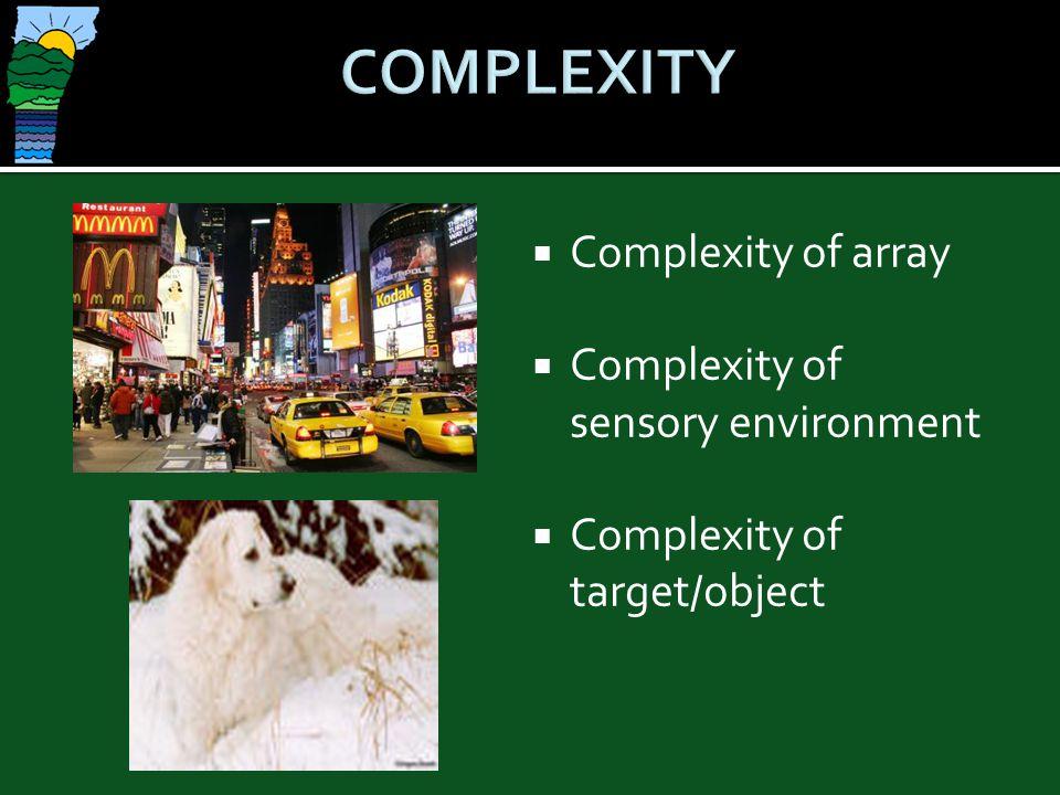 COMPLEXITY Complexity of array Complexity of sensory environment