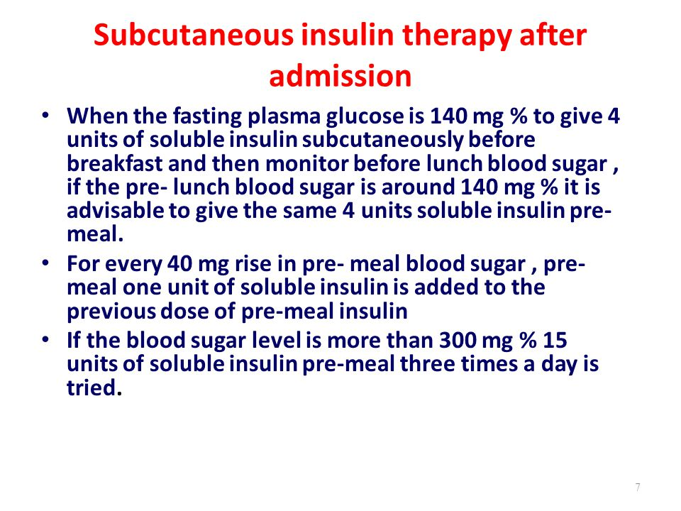 Subcutaneous insulin therapy after admission