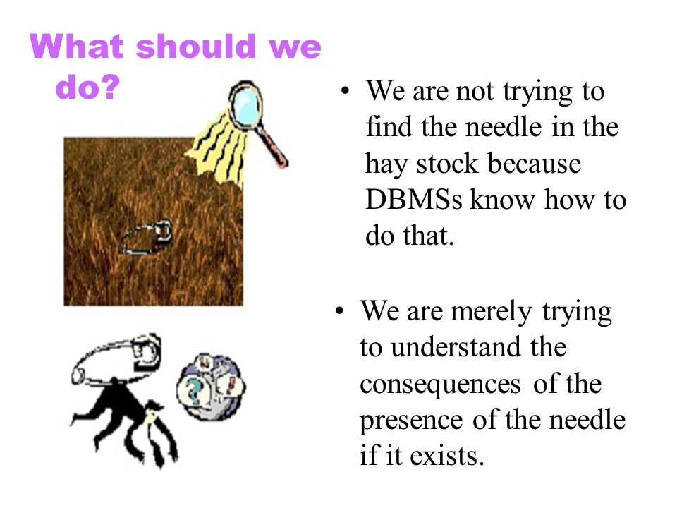 What should we do We are not trying to find the needle in the hay stock because DBMSs know how to do that.