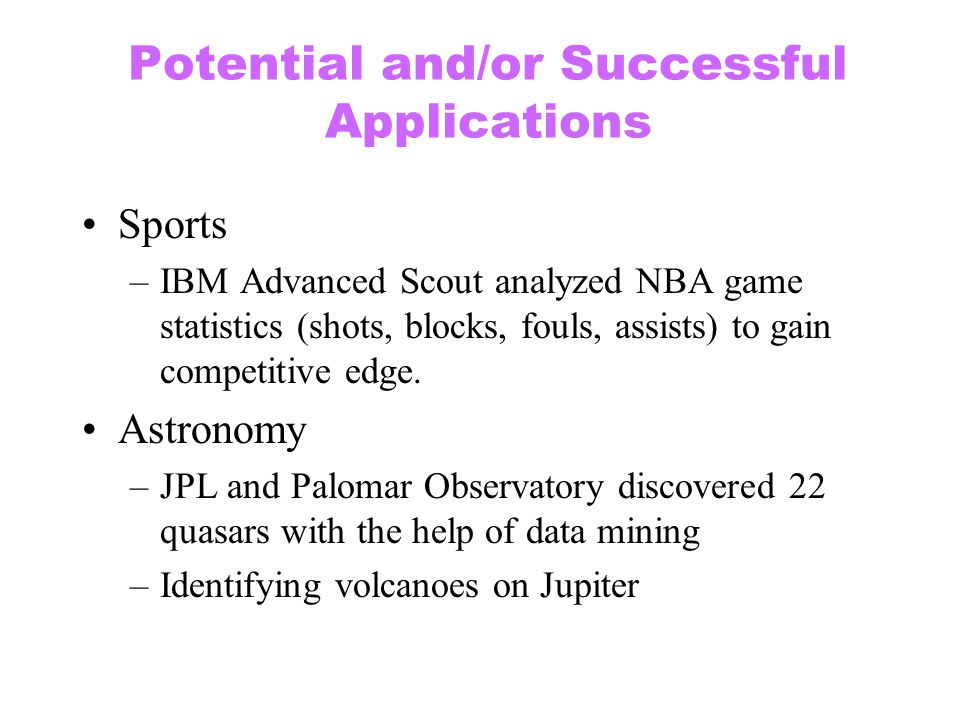 Potential and/or Successful Applications