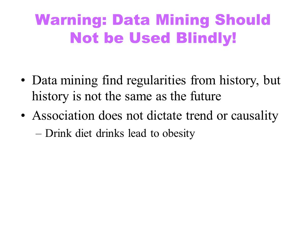 Warning: Data Mining Should Not be Used Blindly!