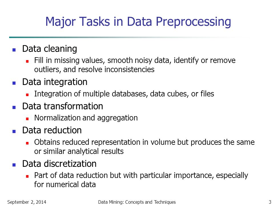 Major Tasks in Data Preprocessing