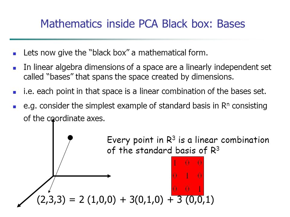 Mathematics inside PCA Black box: Bases