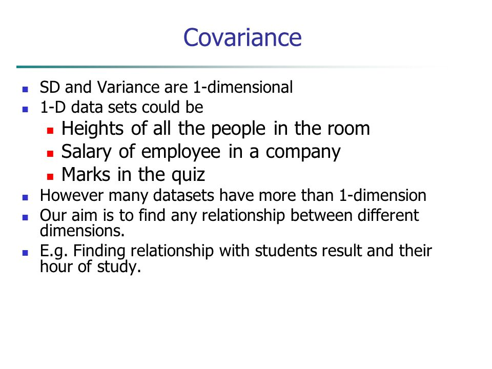 Covariance Heights of all the people in the room
