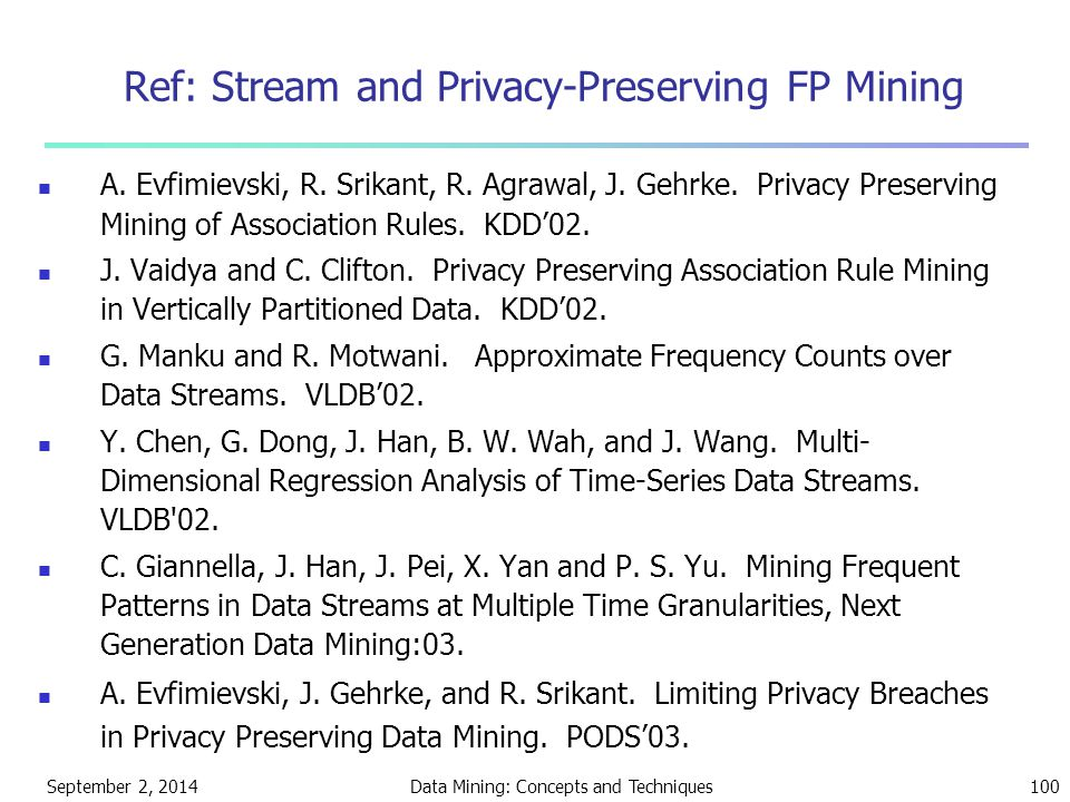 Ref: Stream and Privacy-Preserving FP Mining