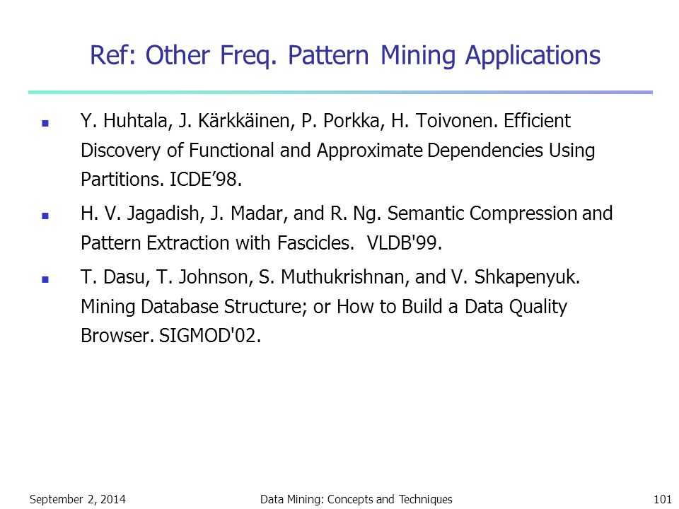 Ref: Other Freq. Pattern Mining Applications