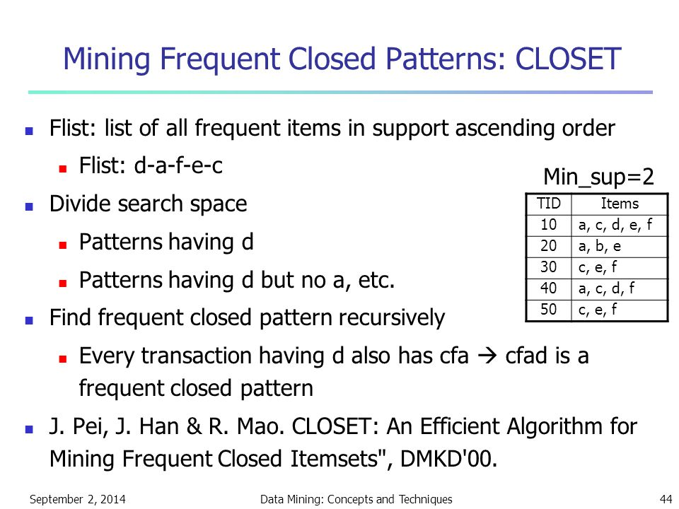 Mining Frequent Closed Patterns: CLOSET