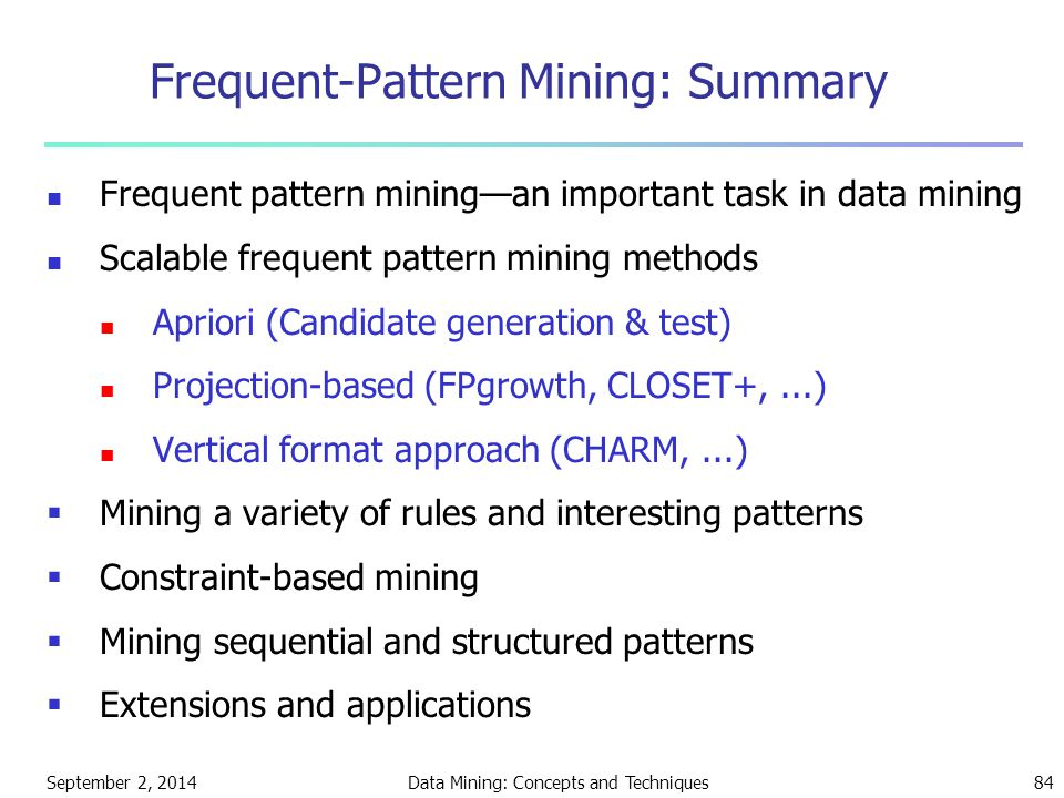 Frequent-Pattern Mining: Summary