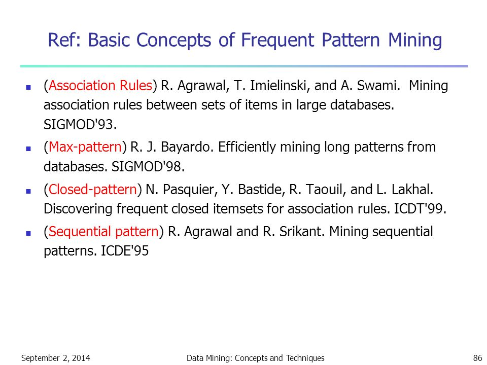 Ref: Basic Concepts of Frequent Pattern Mining